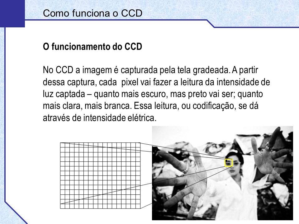 Como funciona o CCD O funcionamento do CCD Como resposta, teremos uma imagem formada por pixels claros e escuros, a partir das áreas identificadas na imagem.