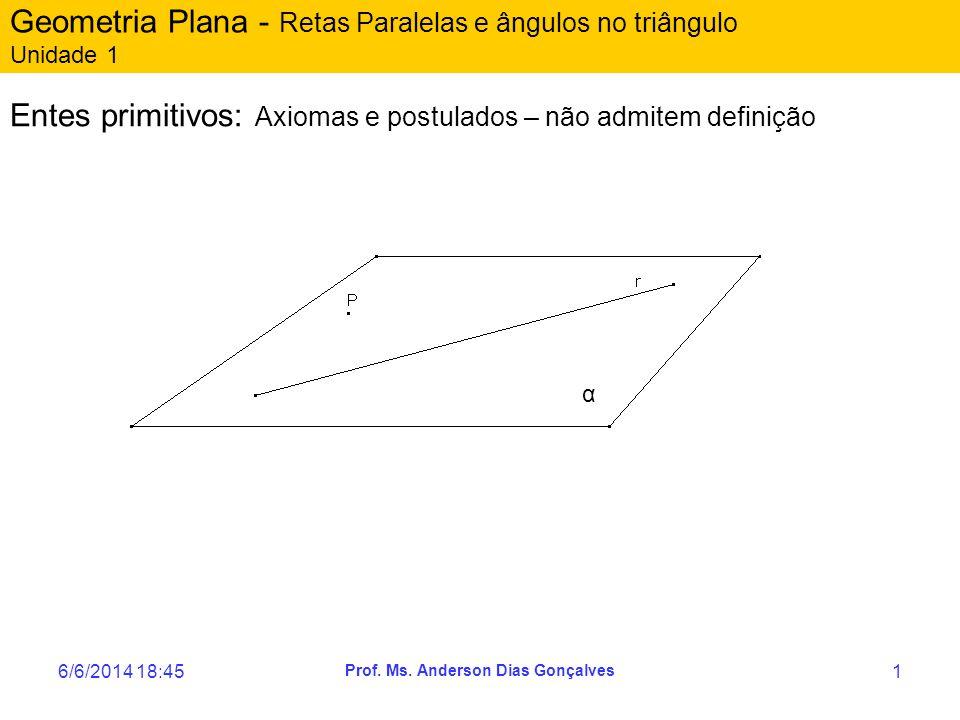6/6/2014 18:47 Prof. Ms. Anderson Dias Gonçalves 1 Geometria Plana - Retas Paralelas e ângulos no triângulo Unidade 1 Entes primitivos: Axiomas e post