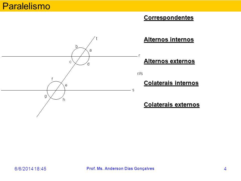 6/6/2014 18:47 Prof. Ms. Anderson Dias Gonçalves 4 Paralelismo Correspondentes Alternos internos Alternos externos Colaterais internos Colaterais exte