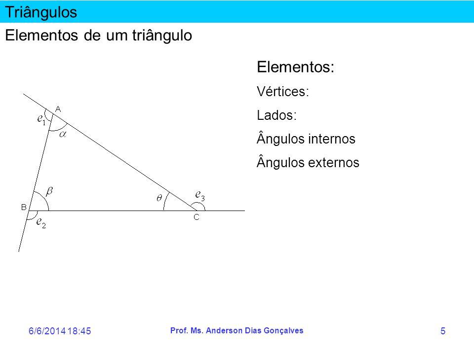 6/6/2014 18:47 Prof. Ms. Anderson Dias Gonçalves 5 Triângulos Elementos de um triângulo Elementos: Vértices: Lados: Ângulos internos Ângulos externos