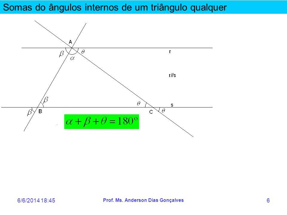 6/6/2014 18:47 Prof. Ms. Anderson Dias Gonçalves 6 Somas do ângulos internos de um triângulo qualquer