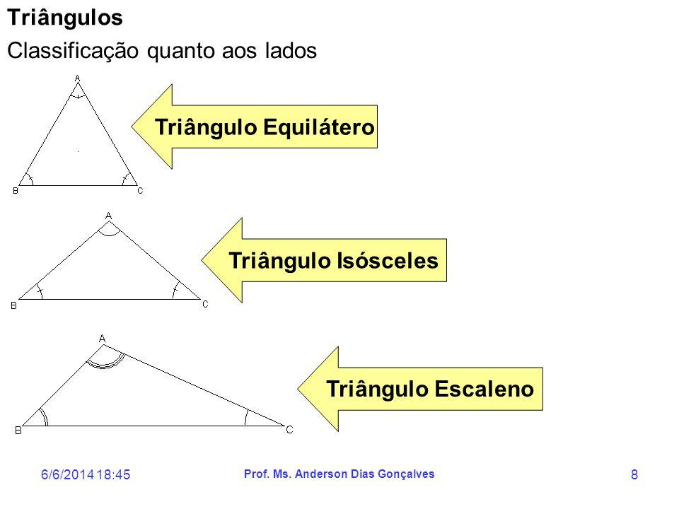 6/6/2014 18:47 Prof. Ms. Anderson Dias Gonçalves 8 Triângulos Classificação quanto aos lados Triângulo Equilátero Triângulo Isósceles Triângulo Escale