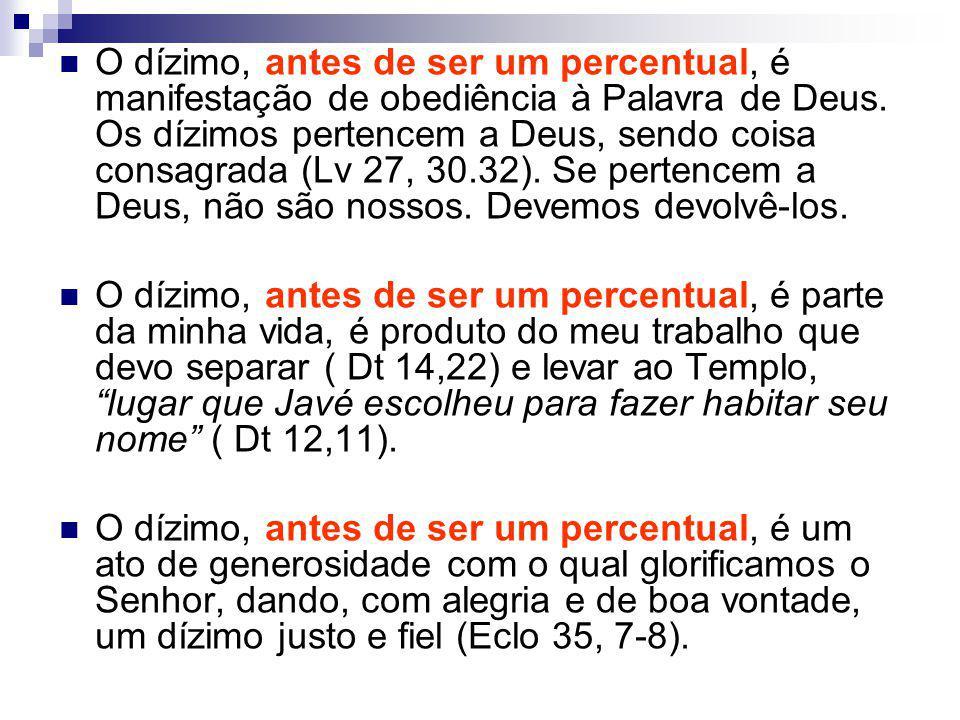 O dízimo, antes de ser um percentual, é manifestação de obediência à Palavra de Deus.
