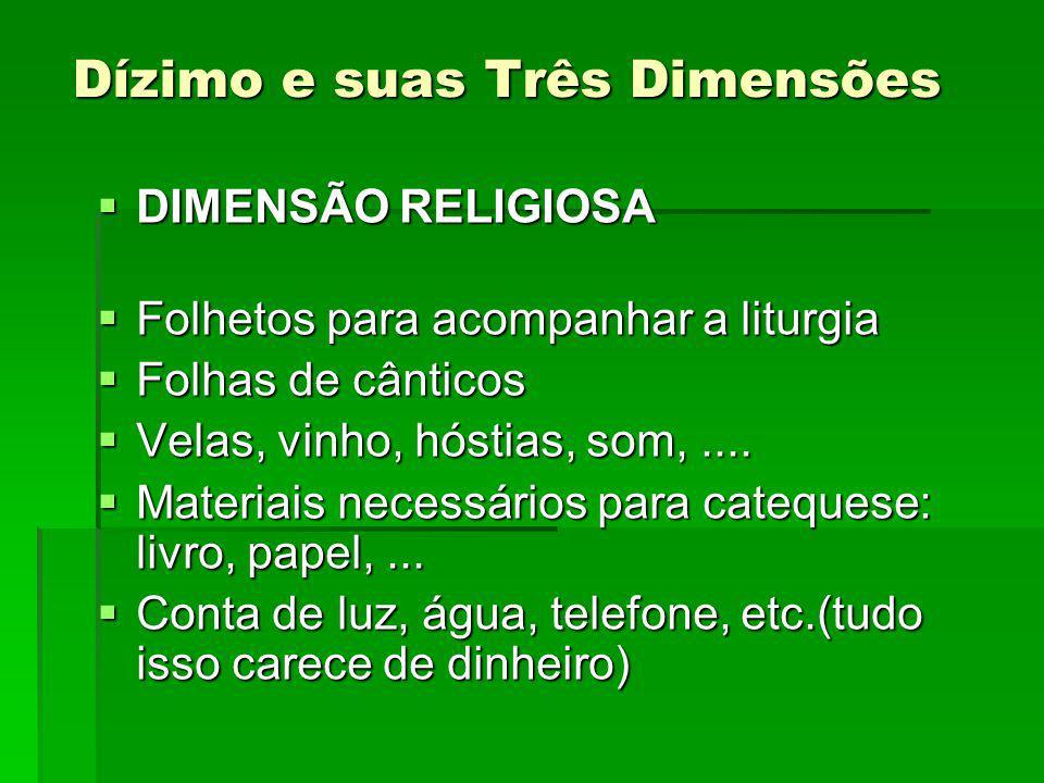 Dízimo e suas Três Dimensões DIMENSÃO RELIGIOSA DIMENSÃO RELIGIOSA Folhetos para acompanhar a liturgia Folhetos para acompanhar a liturgia Folhas de cânticos Folhas de cânticos Velas, vinho, hóstias, som,....