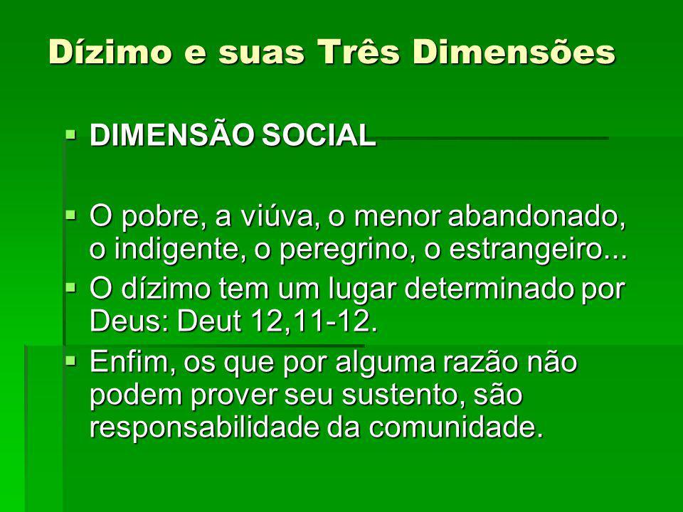 Dízimo e suas Três Dimensões DIMENSÃO SOCIAL DIMENSÃO SOCIAL O pobre, a viúva, o menor abandonado, o indigente, o peregrino, o estrangeiro...