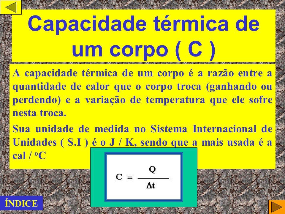 Unidades de medidas caloria ( cal ), a mais usada. Joule, a unidade oficial do Sistema Internacional de Unidades ( S.I ). ATENÇÃO: 1 cal = 4,18 J ÍNDI