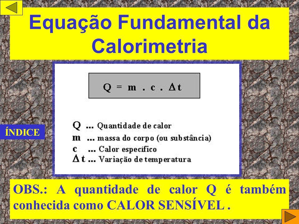 Calor específico de uma substância ( c ) Chamamos de Calor específico de uma substância ( c ) a razão entre a quantidade de calor que a substância tro