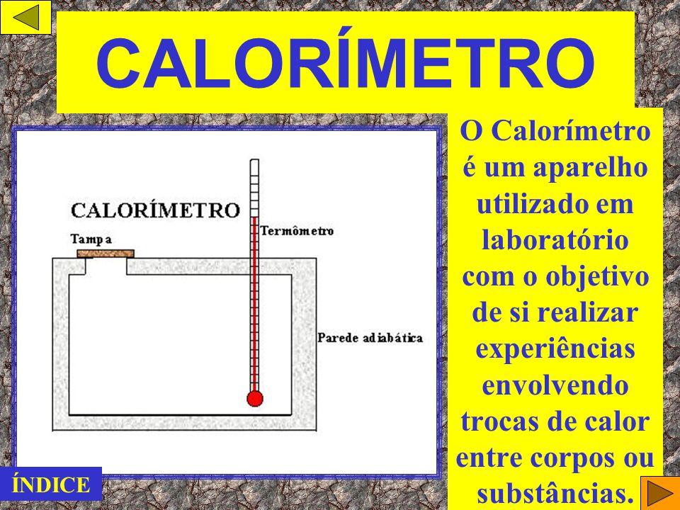 Equação Fundamental da Calorimetria OBS.: A quantidade de calor Q é também conhecida como CALOR SENSÍVEL. ÍNDICE