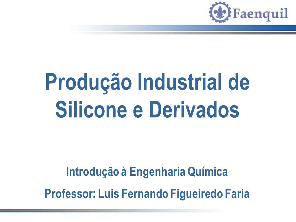 Produção Industrial de Silicone e Derivados Introdução à Engenharia Química Professor: Luis Fernando Figueiredo Faria