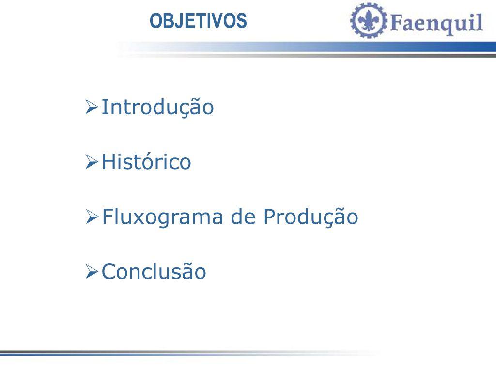 OBJETIVOS Introdução Histórico Fluxograma de Produção Conclusão