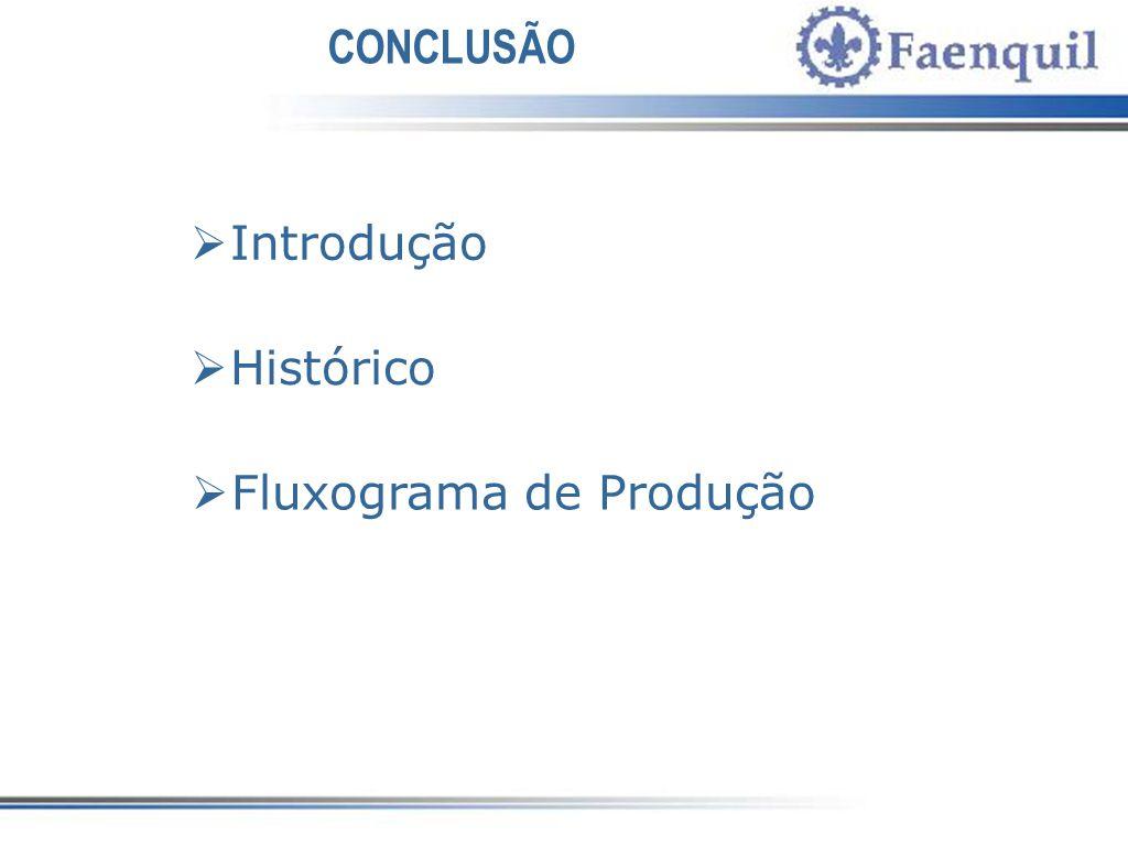 CONCLUSÃO Introdução Histórico Fluxograma de Produção