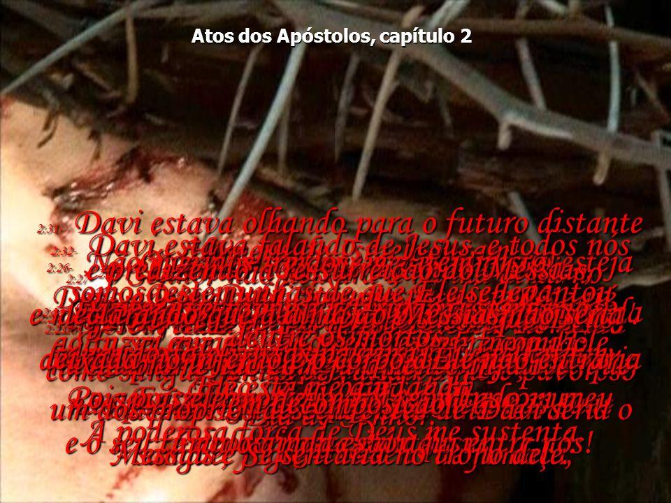 Atos dos Apóstolos, capítulo 2 2:20- E Eu provocarei extraordinárias demonstrações nos céus e na terra - sangue, fogo, e nuvens de fumaça; 2:20- o sol ficará negro, e a lua ficará vermelha como sangue, antes de chegar aquele pavoroso Dia do Senhor.