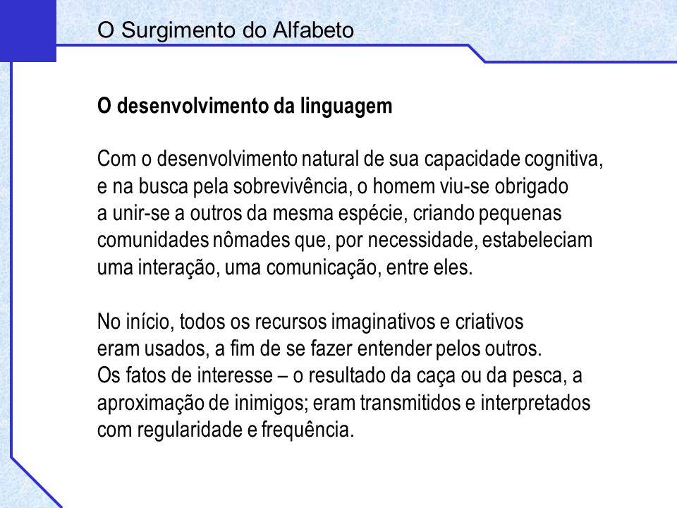 O Surgimento do Alfabeto O desenvolvimento da linguagem Com o desenvolvimento natural de sua capacidade cognitiva, e na busca pela sobrevivência, o ho