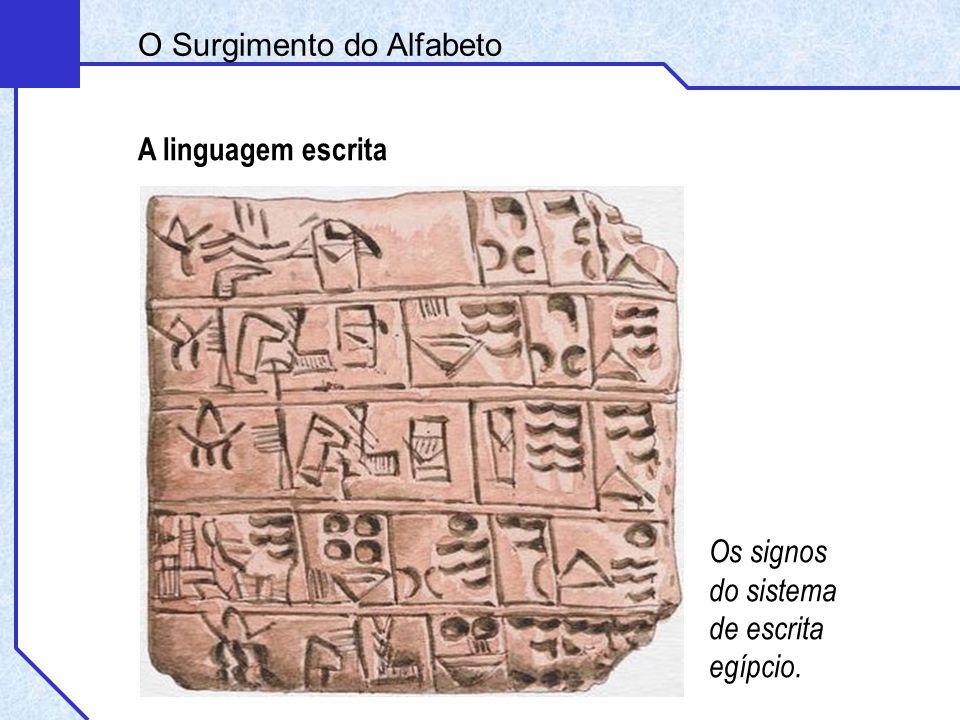 A linguagem escrita Os signos do sistema de escrita egípcio. O Surgimento do Alfabeto