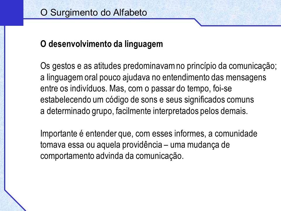 O Surgimento do Alfabeto O desenvolvimento da linguagem Os gestos e as atitudes predominavam no princípio da comunicação; a linguagem oral pouco ajuda