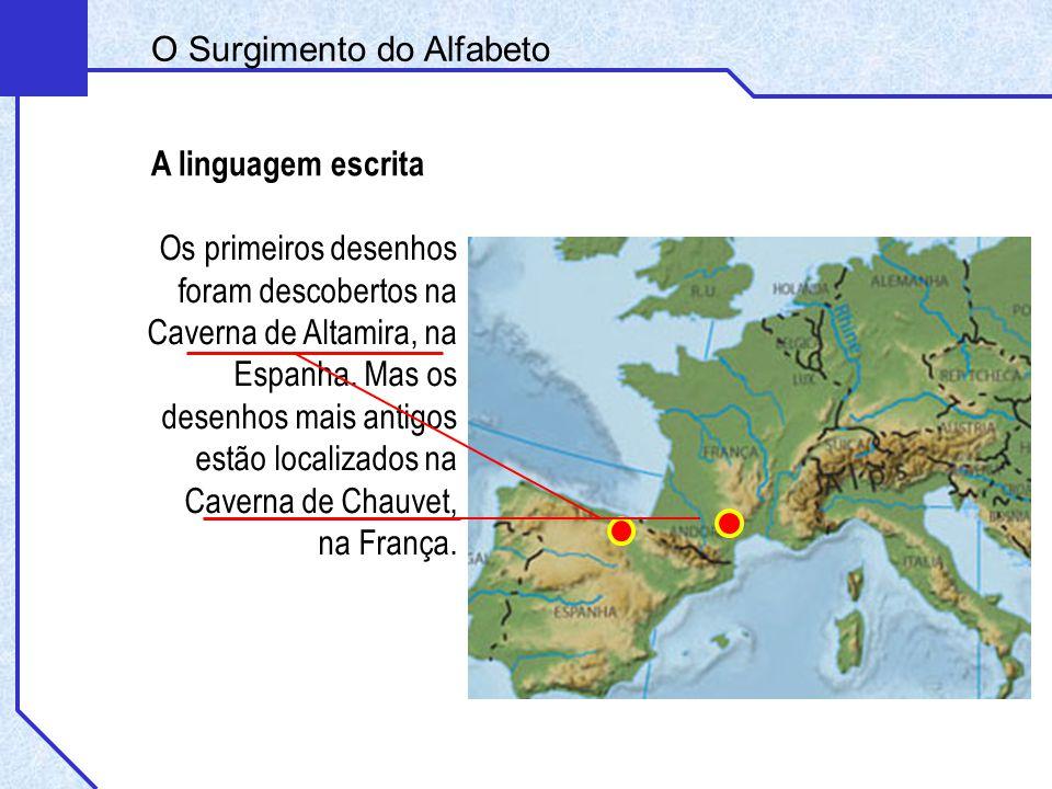 A linguagem escrita O Surgimento do Alfabeto Os primeiros desenhos foram descobertos na Caverna de Altamira, na Espanha. Mas os desenhos mais antigos