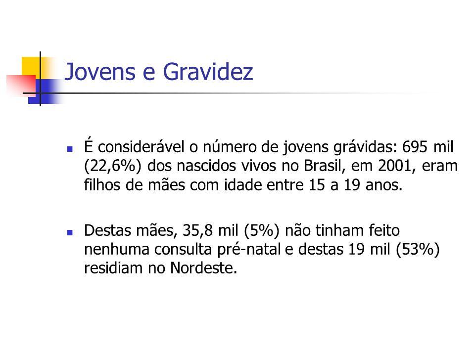 Jovens e Gravidez É considerável o número de jovens grávidas: 695 mil (22,6%) dos nascidos vivos no Brasil, em 2001, eram filhos de mães com idade ent
