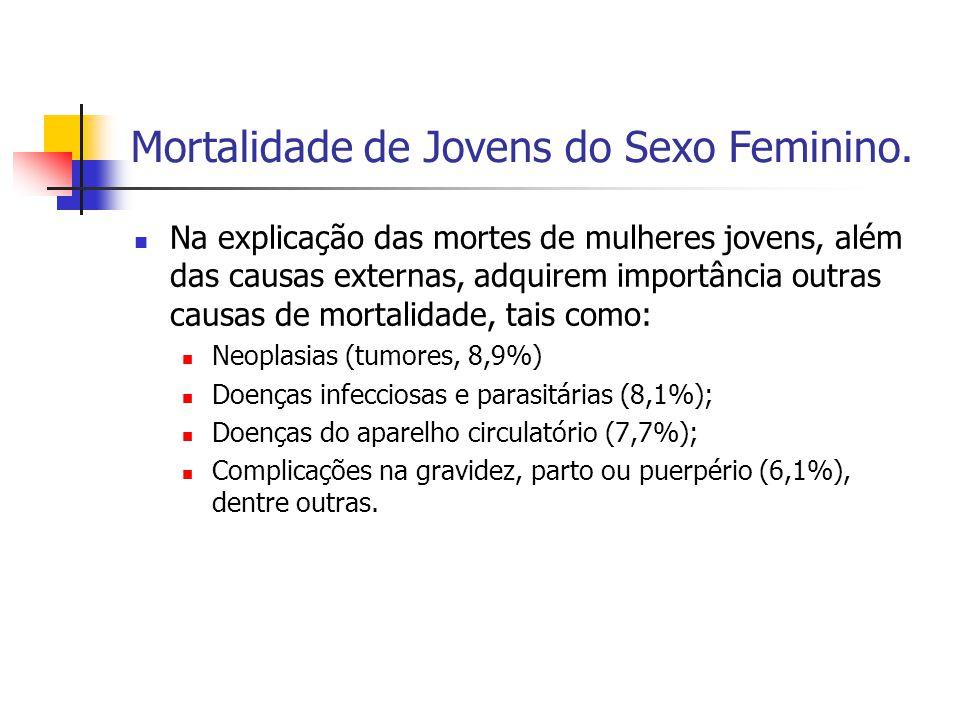 Mortalidade de Jovens do Sexo Feminino. Na explicação das mortes de mulheres jovens, além das causas externas, adquirem importância outras causas de m