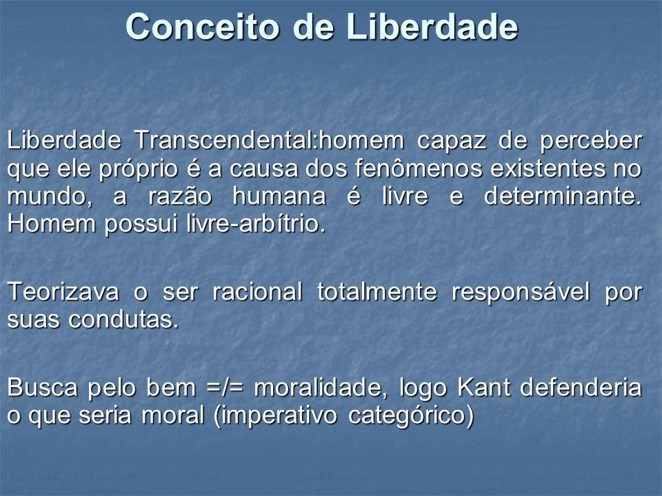 Conceito de Liberdade Liberdade Transcendental:homem capaz de perceber que ele próprio é a causa dos fenômenos existentes no mundo, a razão humana é l