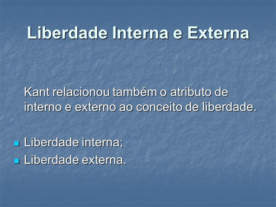 Liberdade Interna e Externa Kant relacionou também o atributo de interno e externo ao conceito de liberdade. Liberdade interna; Liberdade interna; Lib