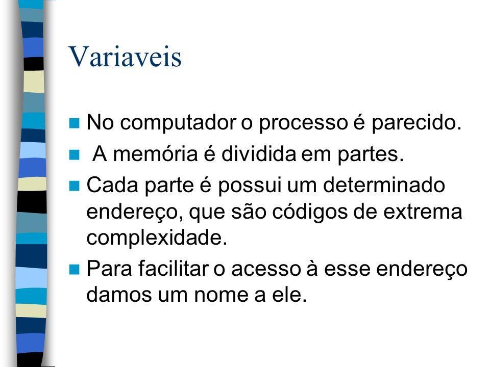 Variaveis No computador o processo é parecido. A memória é dividida em partes. Cada parte é possui um determinado endereço, que são códigos de extrema