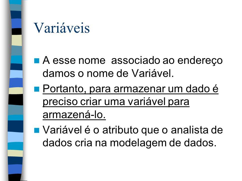 Variáveis A esse nome associado ao endereço damos o nome de Variável. Portanto, para armazenar um dado é preciso criar uma variável para armazená-lo.