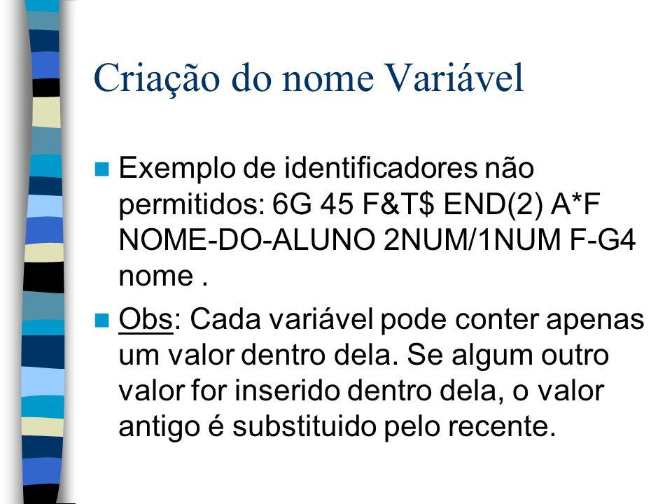 Criação do nome Variável Exemplo de identificadores não permitidos: 6G 45 F&T$ END(2) A*F NOME-DO-ALUNO 2NUM/1NUM F-G4 nome. Obs: Cada variável pode c