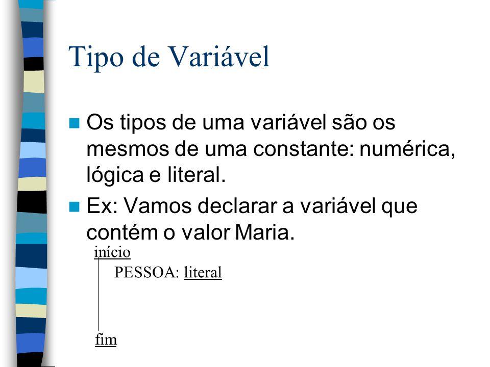 Tipo de Variável Os tipos de uma variável são os mesmos de uma constante: numérica, lógica e literal. Ex: Vamos declarar a variável que contém o valor