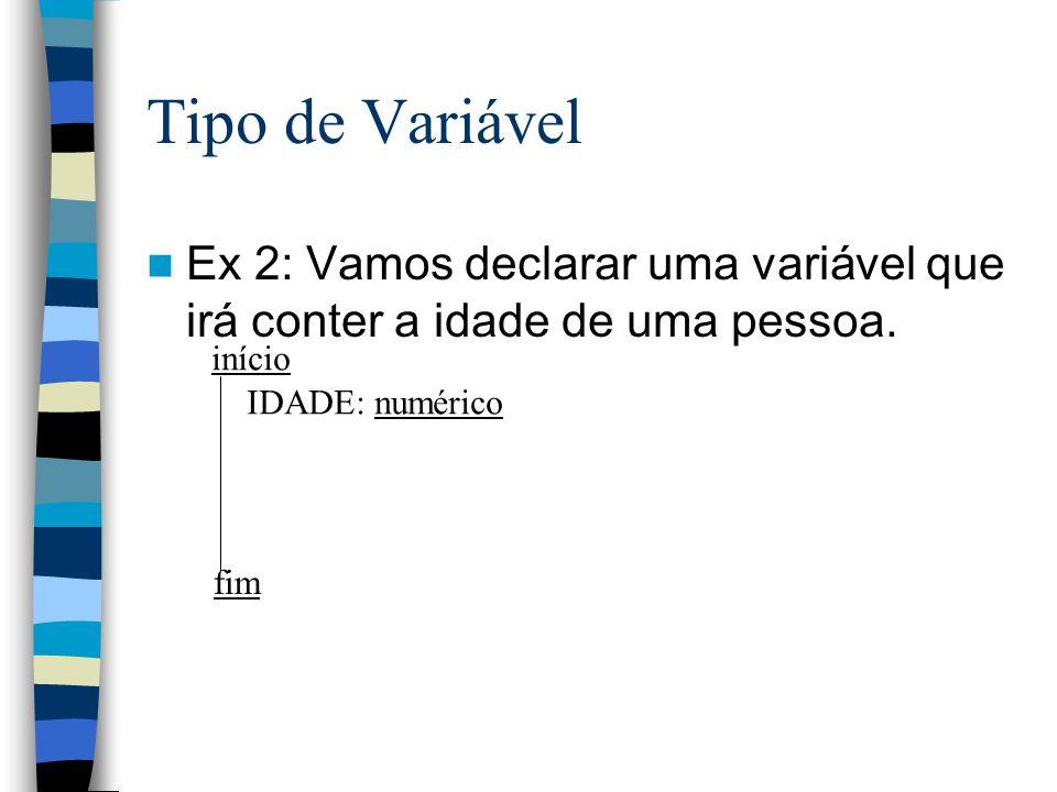 Tipo de Variável Ex 2: Vamos declarar uma variável que irá conter a idade de uma pessoa. início fim IDADE: numérico