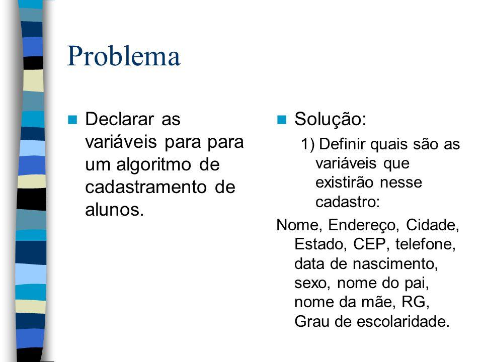 Problema Declarar as variáveis para para um algoritmo de cadastramento de alunos. Solução: 1) Definir quais são as variáveis que existirão nesse cadas