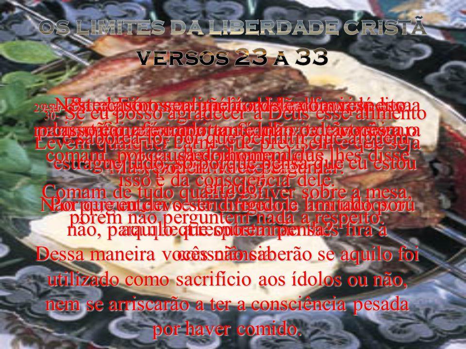 23- Não há dúvida que vocês são livres para comer alimentos oferecidos aos ídolos, se assim o quiserem; não é contra a lei de Deus comer tal carne, porém isso não significa que vocês devem comer.