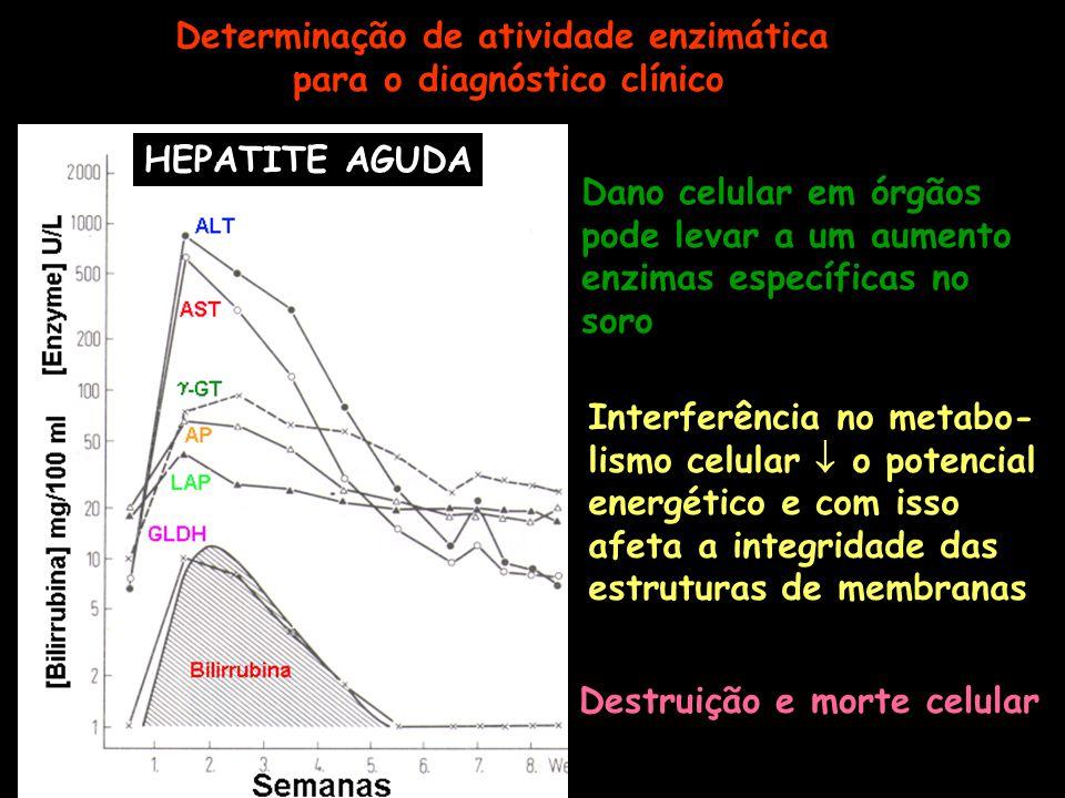 Determinação de atividade enzimática para o diagnóstico clínico HEPATITE AGUDA Dano celular em órgãos pode levar a um aumento enzimas específicas no s