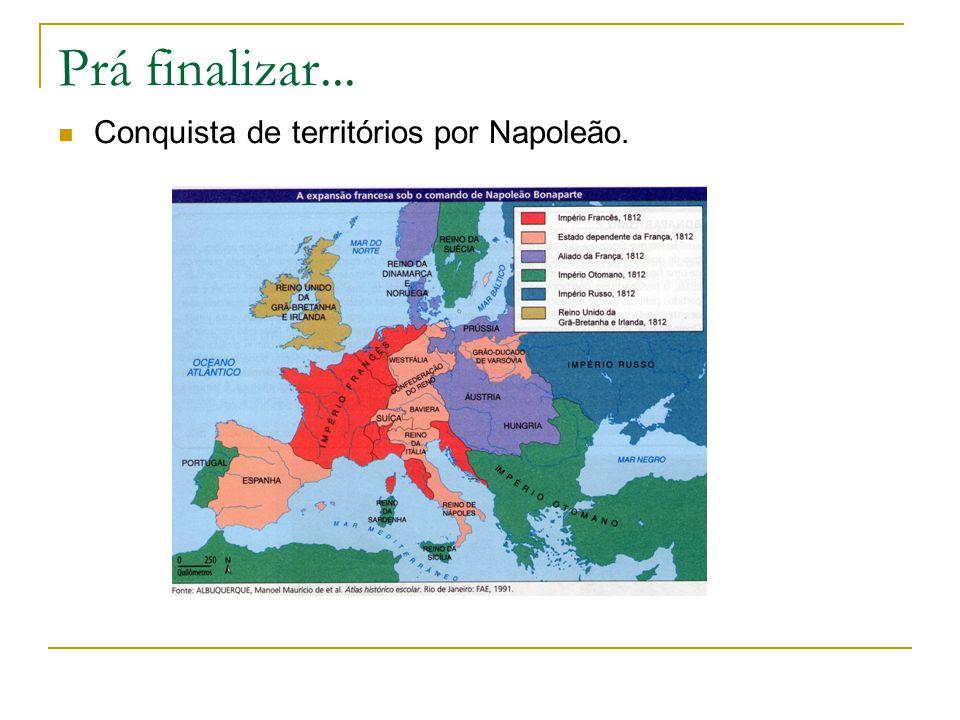 Prá finalizar... Conquista de territórios por Napoleão.