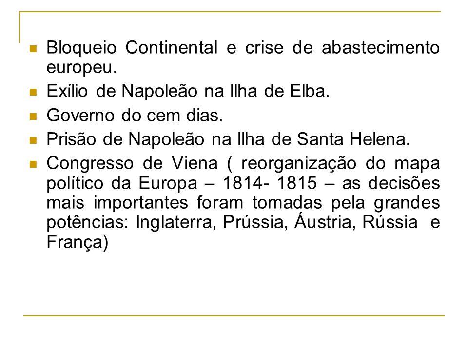 Bloqueio Continental e crise de abastecimento europeu.