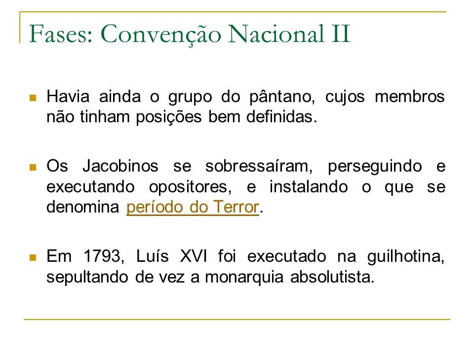 Fases: Convenção Nacional II Havia ainda o grupo do pântano, cujos membros não tinham posições bem definidas.