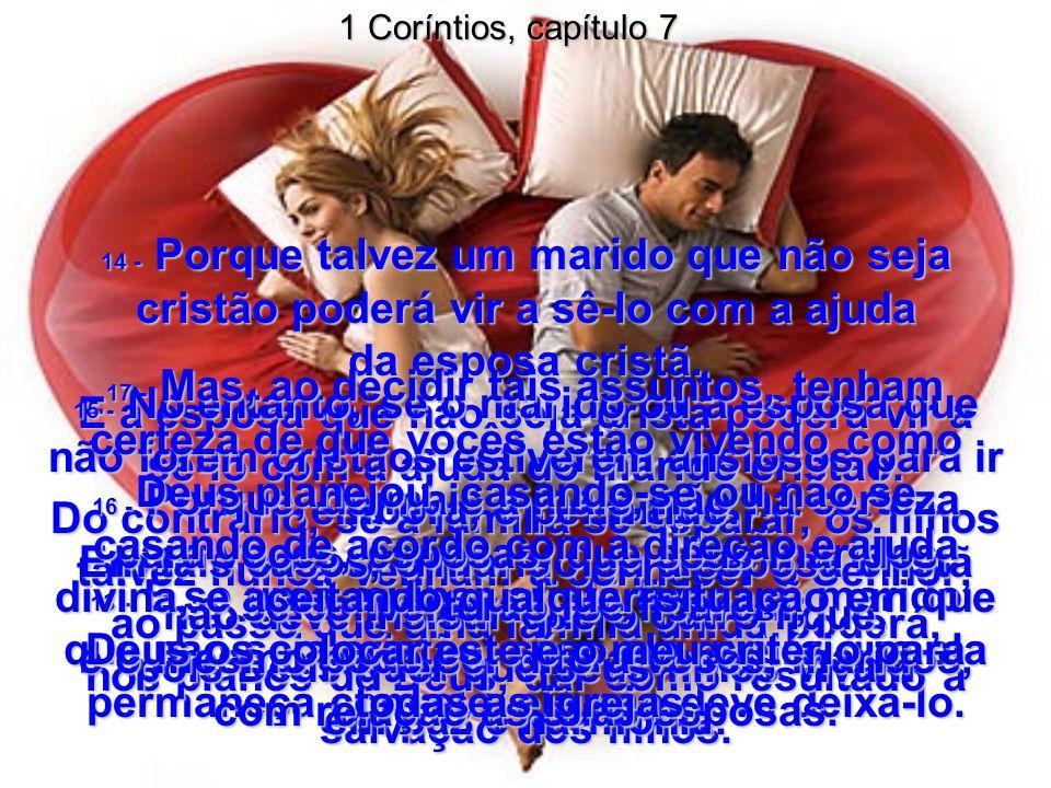1 Coríntios, capítulo 7 13 - E se uma mulher cristã tiver um marido que não seja cristão, caso ele queira que ela permaneça com ele, ela não deve deixá-lo.