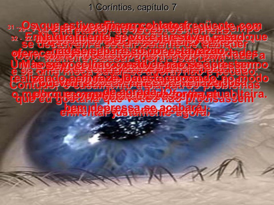 1 Coríntios, capítulo 7 26 - Eis o problema: nós, os cristãos, estamos enfrentando grandes perigos, neste momento, para nossas vidas.
