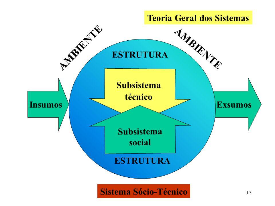 15 Insumos Exsumos AMBIENTE Subsistema social ESTRUTURA Sistema Sócio-Técnico Teoria Geral dos Sistemas Subsistema técnico
