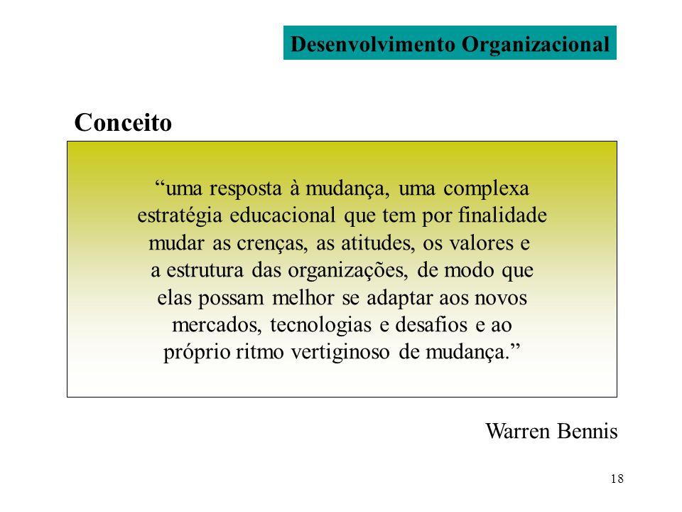 18 Desenvolvimento Organizacional Conceito uma resposta à mudança, uma complexa estratégia educacional que tem por finalidade mudar as crenças, as ati