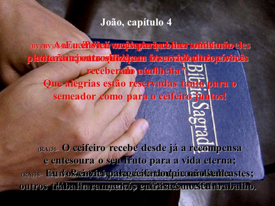 João, capítulo 4 (BV)32- Não, respondeu, Eu tenho uma comida a respeito da qual vocês não sabem nada. (RA)32- Mas ele lhes disse: Uma comida tenho par