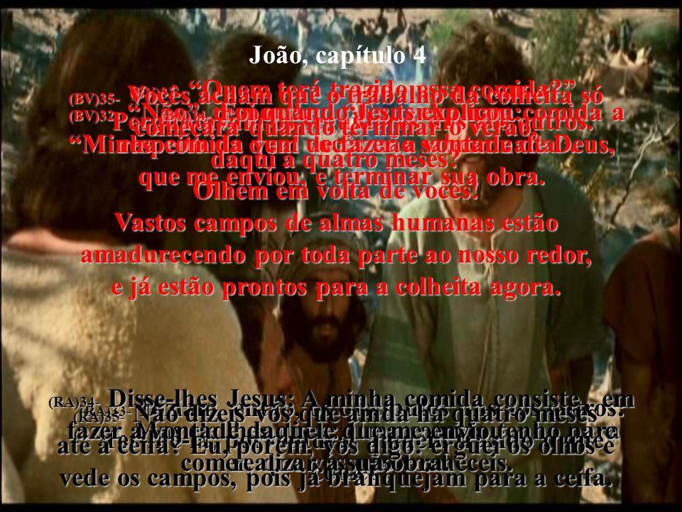 João, capítulo 2 (BV)30- Então o povo veio da aldeia correndo para ver Jesus. (RA)30- Saíram, pois, da cidade e vieram ter com ele. (BV)31- Enquanto i