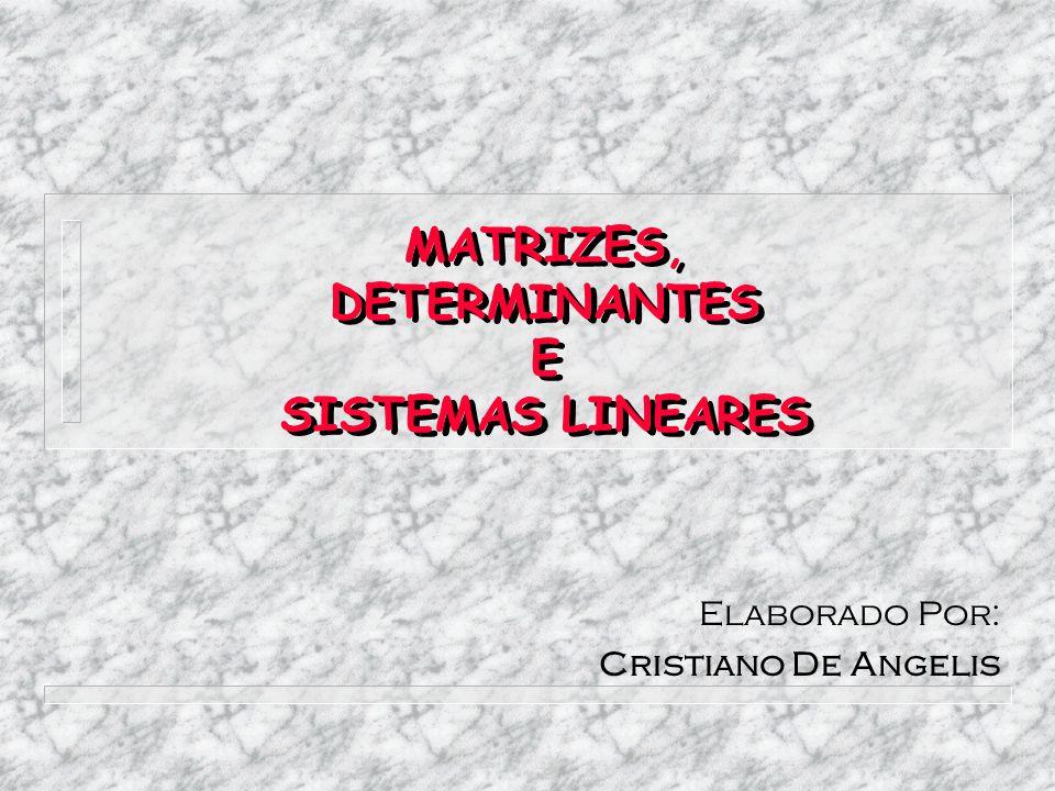 MATRIZES, DETERMINANTES E SISTEMAS LINEARES Elaborado Por: Cristiano De Angelis