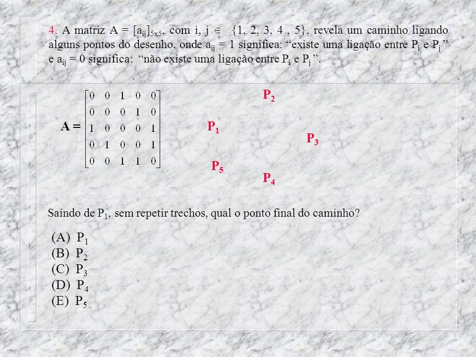 4. A matriz A = [a ij ] 5x5, com i, j {1, 2, 3, 4, 5}, revela um caminho ligando alguns pontos do desenho, onde a ij = 1 significa: existe uma ligação