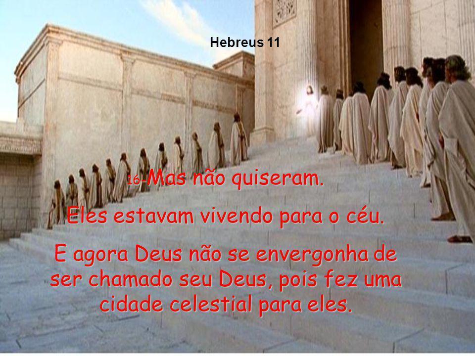 13-Esses homens de fé que eu mencionei morreram sem jamais terem recebido tudo quanto Deus lhes prometeu; mas viram tudo que os esperava adiante, e fi