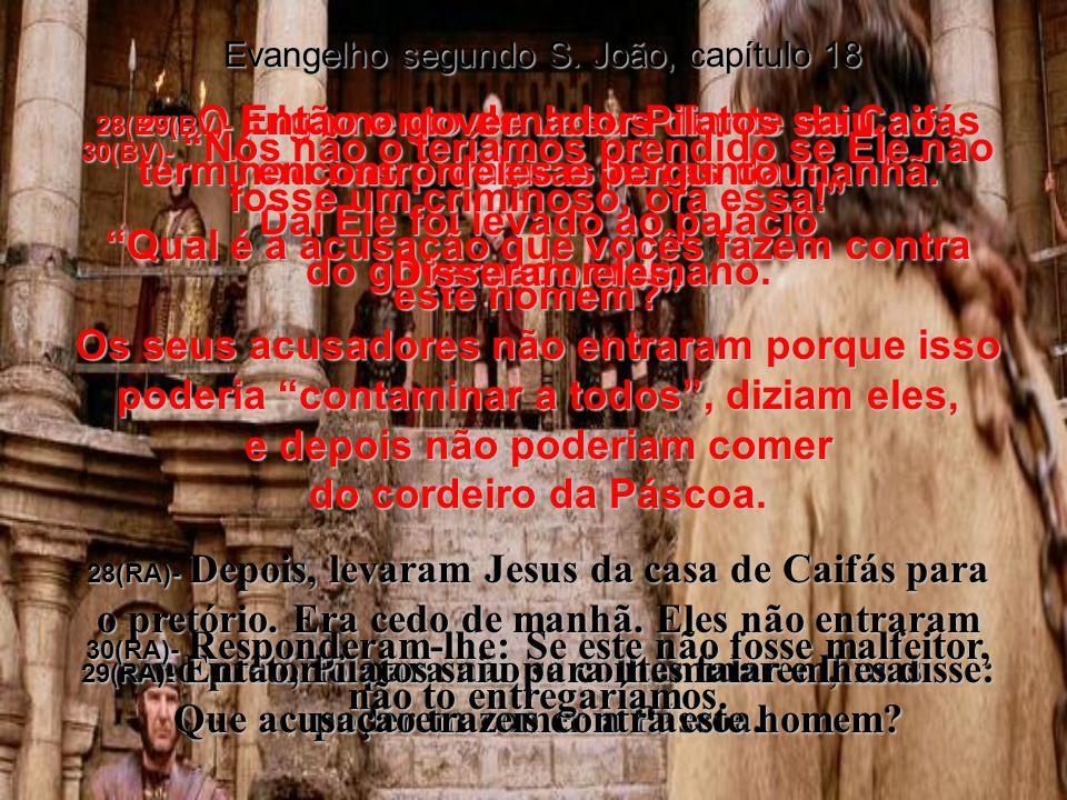 26(BV)- Mas um dos escravos da casa do supremo sacerdote – parente do homem de quem Pedro havia cortado a orelha – perguntou: Eu não vi você lá no bosque de oliveiras com Jesus.