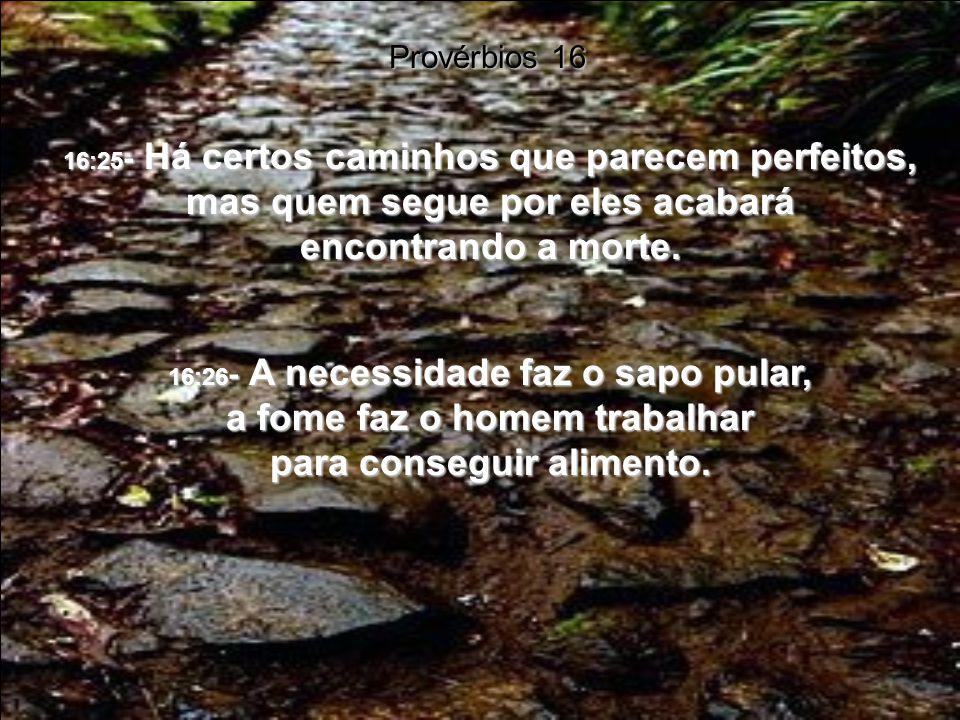 16:25- Há certos caminhos que parecem perfeitos, mas quem segue por eles acabará encontrando a morte.