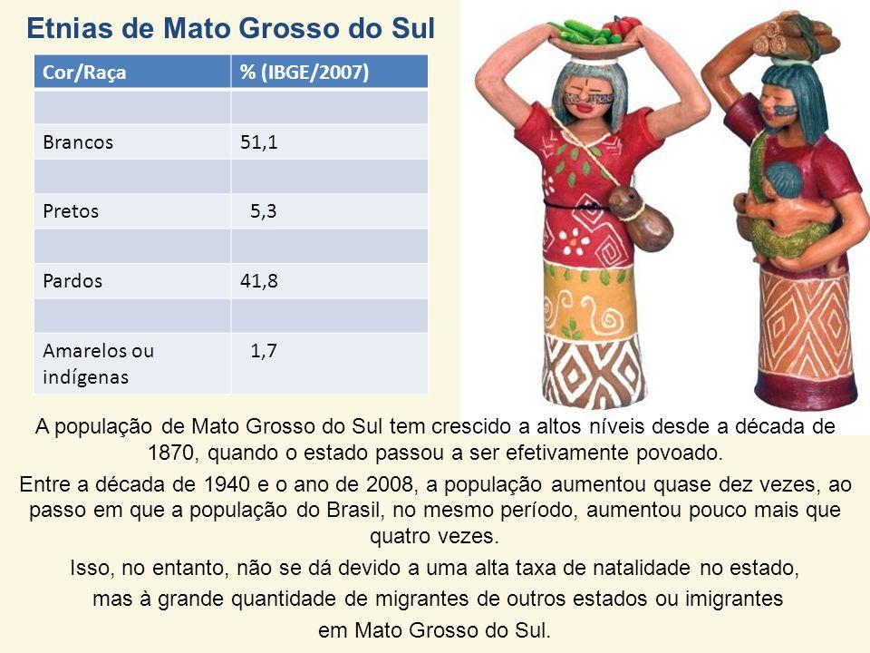 Etnias de Mato Grosso do Sul Cor/Raça% (IBGE/2007) Brancos51,1 Pretos 5,3 Pardos41,8 Amarelos ou indígenas 1,7 A população de Mato Grosso do Sul tem crescido a altos níveis desde a década de 1870, quando o estado passou a ser efetivamente povoado.