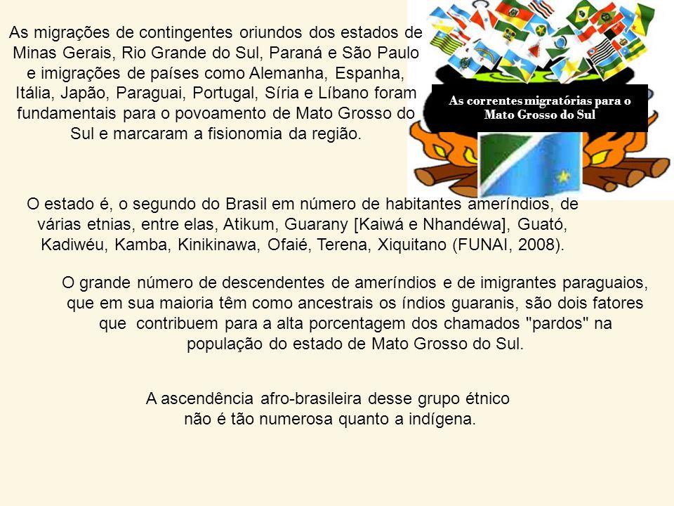 Etnias de Mato Grosso do Sul Cor/Raça% (IBGE/2007) Brancos51,1 Pretos 5,3 Pardos41,8 Amarelos ou indígenas 1,7 A população de Mato Grosso do Sul tem c