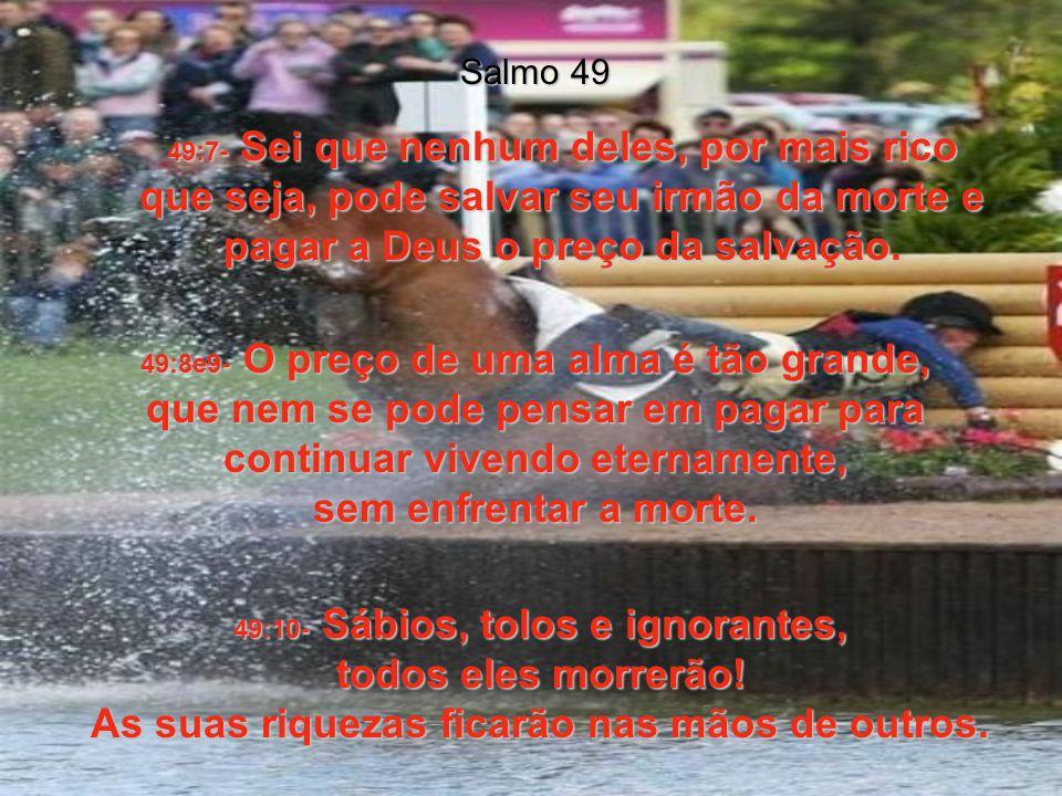 49:4- Cantarei ao som da harpa a resposta a um dos mais complicados problemas da vida: 49:5- Não é necessário ter medo dos dias difíceis e do sofrimen
