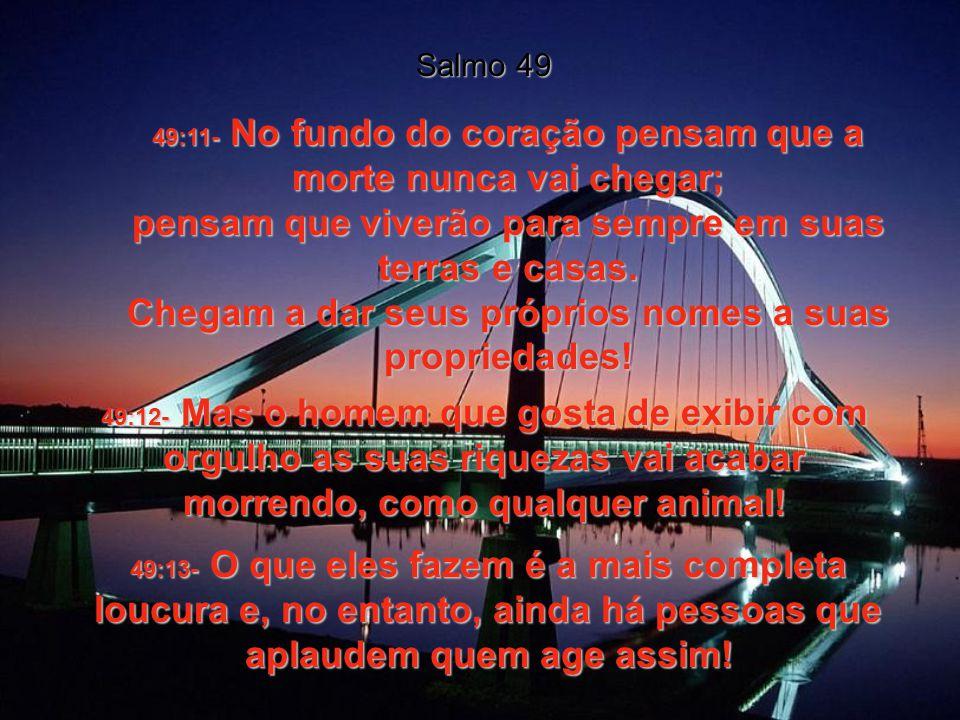 49:7- Sei que nenhum deles, por mais rico que seja, pode salvar seu irmão da morte e pagar a Deus o preço da salvação. 49:8e9- O preço de uma alma é t